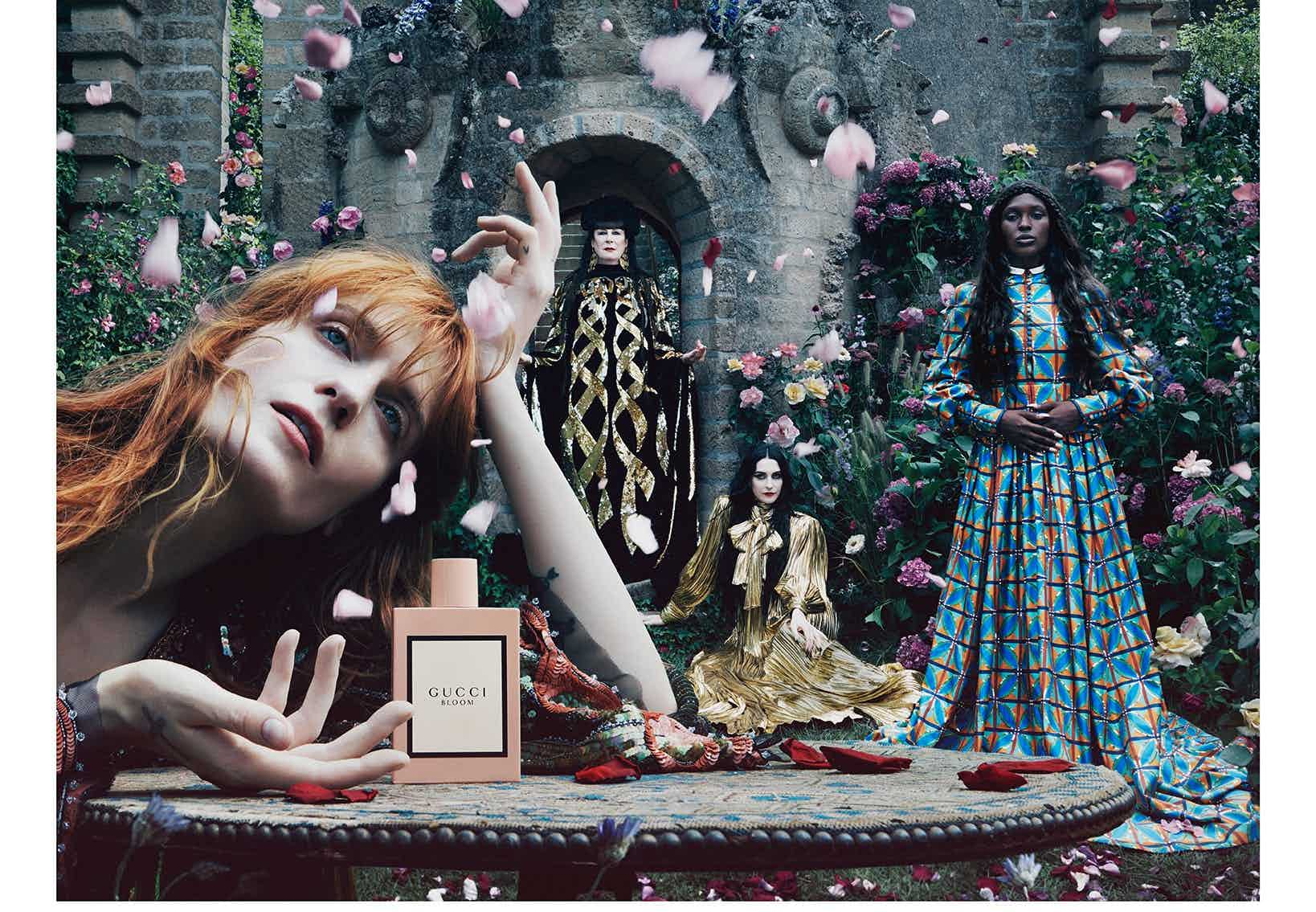 GUCCI - BLOOM 2020 Photographer: Flora Sigismondi Model: Anjelica Huston, Florence Welch Location: Italy, Umbria - La Scarzuola