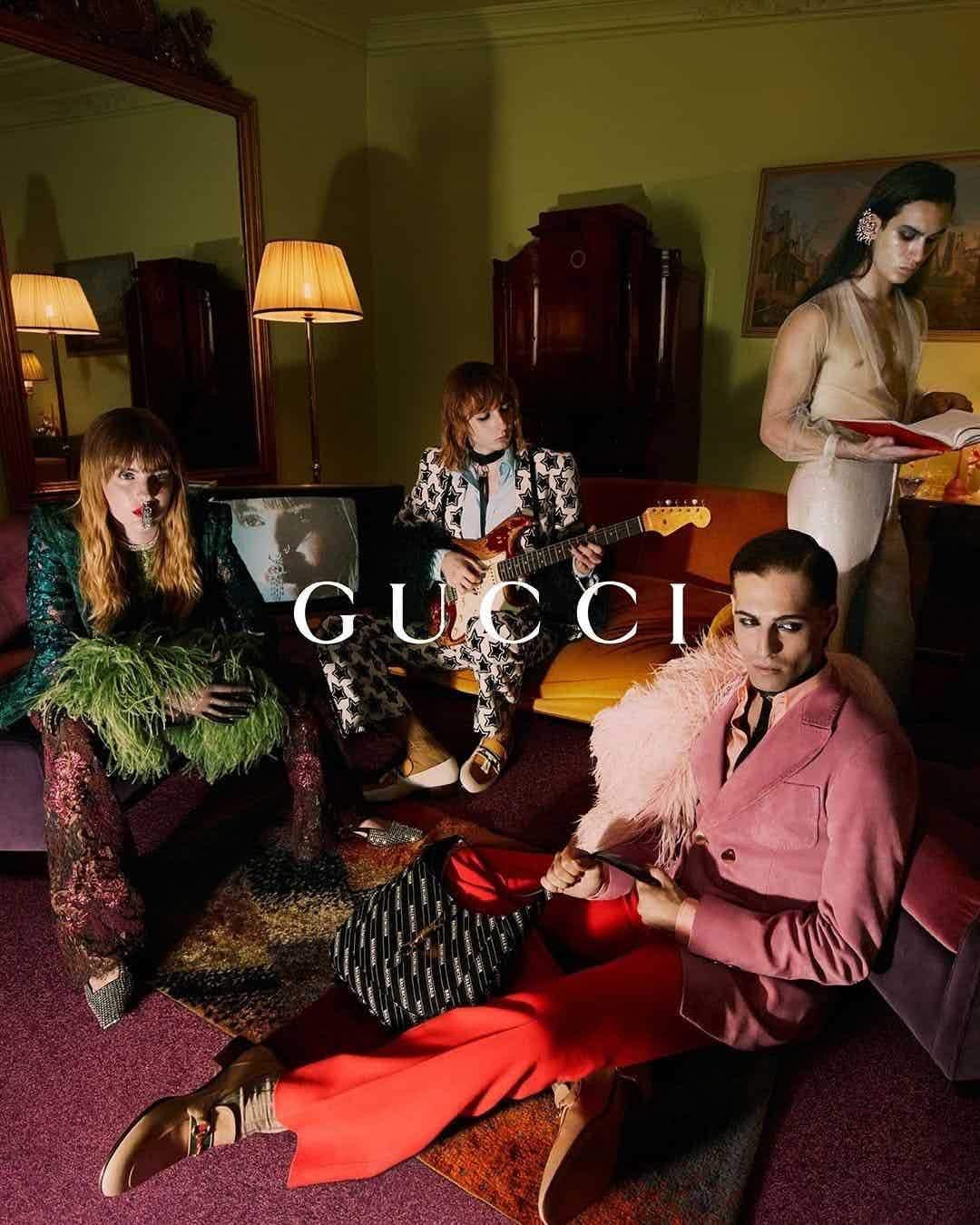 GUCCI - Aria Campaign Photographer: Mert & Marcus Model: Liam Rogers, Odinaka Ekezie, Kristen McMenamy, Maneskin Stylist: Jonathan Kaye  Location: Rome